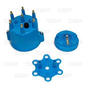 6-Cylinder Male Pro Series Distributor Cap & Rotor Kit - Blue