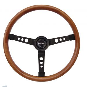 Steering Wheel LOTSE BIG BLOCK, Black Steel and Leather wheel, 400mm diam, BIG-WB, each