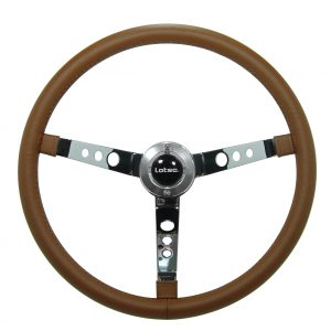 Steering Wheel LOTSE BIG BLOCK, Chrome Steel and Leather wheel, 400mm diam, BIG-MR, each