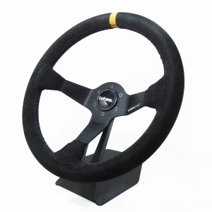 Steering Wheel LOTSE WRC, Black steel and Black leather, 350mm diam, WRC-PA, each